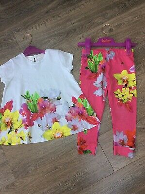 Ted Baker Girls Tunic T Shirt And Leggings Set Pink Floral 4-5