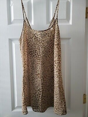 Victoria's Secret Sheer Animal print sheer Slip Gown Chemise Babydoll Medium