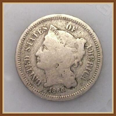 """1866 Three 3 Cent Nickel,  """"Actual Coin Pictured"""""""