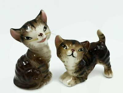 Vintage Tabby Cat Salt & Pepper Figure Animal Themed Kitchen Decor Made In Japan