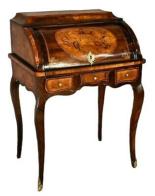 Antique French Kingwood & Rosewood Inlaid Roll Top Desk w/ Fitted Interior