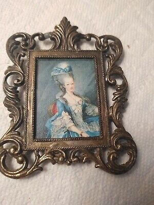 VINTAGE- ORNATE- Brass Frame- Wall Hanging PICTURE VICTORIAN LADY- MADE IN ITALY