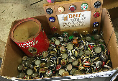 Mixed Beer Cap Lot With Tobacco Tin And Sign