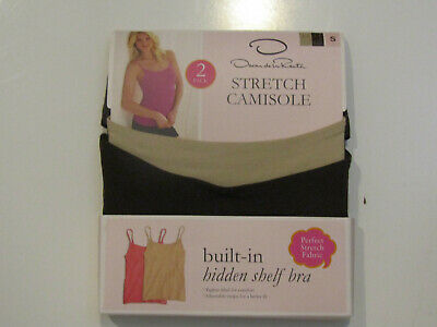 Oscar de La Renta Womens Two Pack Camisole Lot Brown Tan Stretch Shelf Bra S