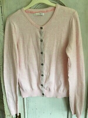 Girls Next Pink Soft Cotton Mix Cardigan With Grey Sparkle Edging, Age 12