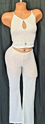 Victorias Secret Sheer Pajama CAMI PANT set Stretch Lace White Cream VINTAGE MED