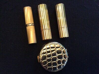 Lot of 4 Vntg Estee Lauder Gold Lipstick 3 Containers & 1 Alligator Compact Case