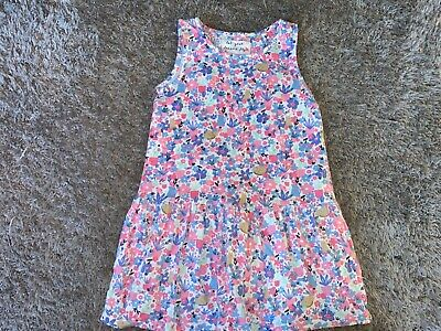 Girls Clothes cream/multi coloured dress floral/cats motif age 3-4 years