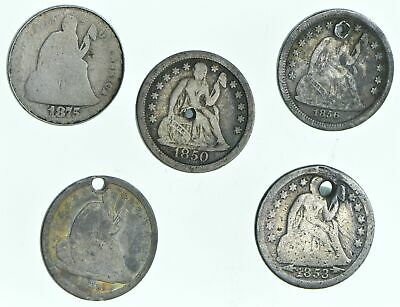 1875 1850 1856 1839 1853-O Lot 5 Seated Liberty Dimes Collection *263