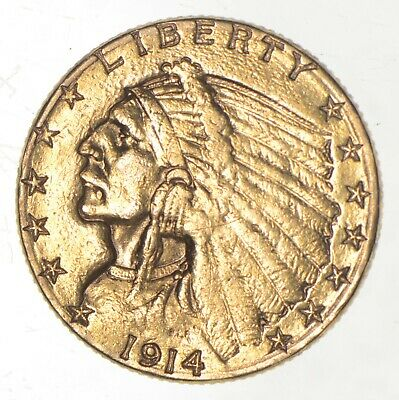 $2.50 United States 90% US Gold Coin - 1914 Indian - No Reserve *678