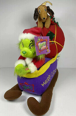 The Grinch w/ Max Sleigh Plush Musical Beverly Hills Teddy Bear Co.