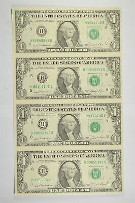 Rare* UNCUT SHEET 1981 $1 FED Reserve Note Choice Unc Never Cut by Treasury *801
