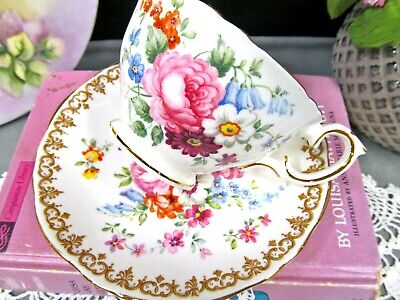 CROWN STAFFORDSHIRE tea cup and saucer pink rose England Bouquet teacup painted