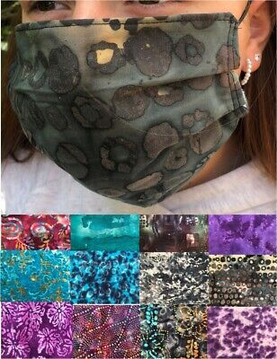 3 Layer Batik Cotton Face Mask With Nose Wire & Filter Pocket Washable (Adult)