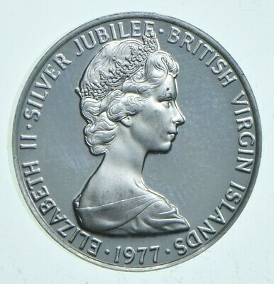 Roughly Size of Dime 1977 British Virgin Islands 5 Cents World Silver Coin *694
