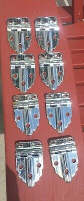 8 Vintage Amerock Chromium Plated Cabinet Hinges No. E3052 Art Deco