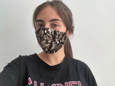 Face Mask Cotton Double Layer Filter Sleeve  Washable  Ladies New Made In Uk.