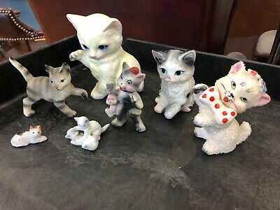 Vintage Ceramic Cat Figurines Made in Japan Miniatures (Lot of 7)