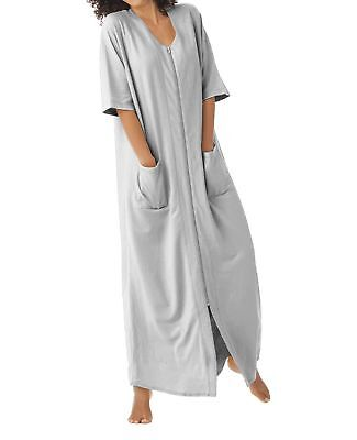 Dreams & Co. Plus Size Heather Grey Short Sleeves Long Robe Size 1X(22/24)