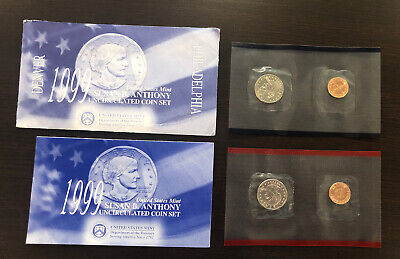 1999 US Mint Susan B Anthony 2 Coin set P&D Complete with all Original paperwork