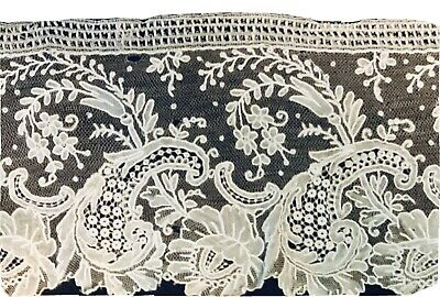 "A length of Antique Point de Gaz lace 62"" x 3.1/2"" No Stains or Wear."