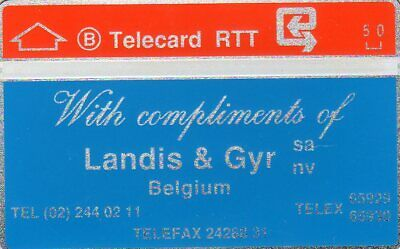 With Compliments Of Landis & Gyr - Early Belgium Mint  Phonecard Rare