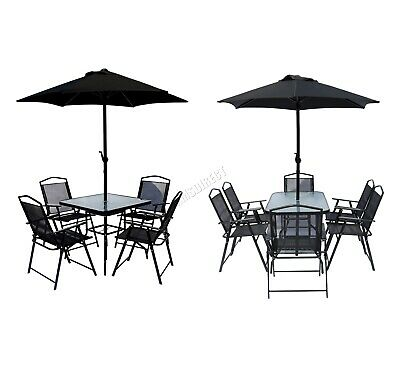 BIRCHTREE Metal Garden Dining Set Table Chairs Parasol 4/6 Seater Outdoor Patio