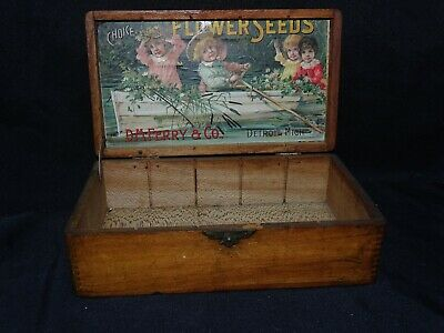 Vintage Country Store D.M. Ferry Flower Seed box Detroit Mich super inner label