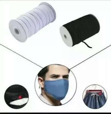 BLACK Corded Elastic Roll - 8cord/6mm width ideal for face masks (250m)
