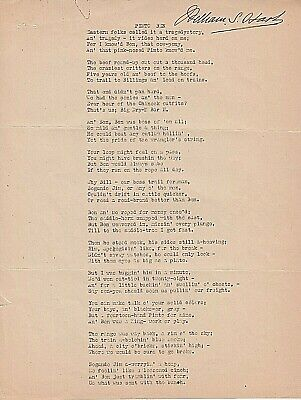 WILLIAM S. HART. 3 page poem PINTO BEN signed by Hart, star of the silent screen