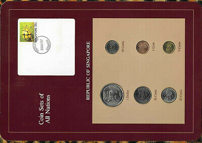 Coin Sets of All Nations Singapore 1984-1987 UNC 5,10,20,50 cents 1987 $1 1984
