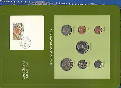 Coin Sets of All Nations Swaziland 1975-1982 UNC 10 cent 1975 1 Lilangeni 1981
