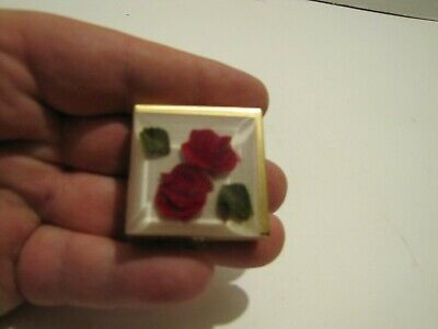 Vintage Bircraft Red Rose Lucite Small Pill Metal Box W/Label