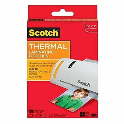 Scotch Thermal Laminating Pouches, 5 x 7-Inches, Photo Size, 100-Pouches (TP5903