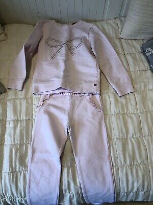 Girls Lili Gaufrette pink tracksuit, age 6, bow embroidered, used