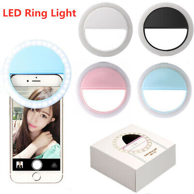 Selfie LED Ring Light Flash Fill Clip Camera Adjustable Brightness Cell Phone
