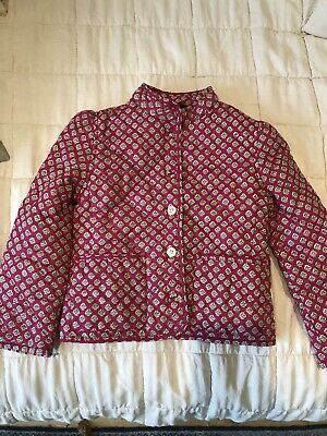 Ralph Lauren girls quilted jacket, pink patterned, Bow At Back, Age 6
