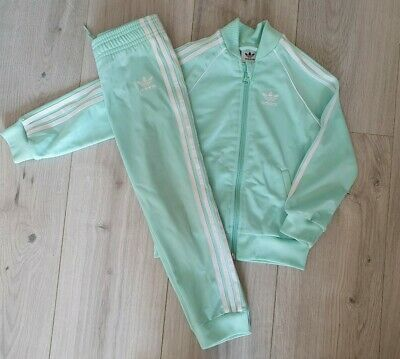 Girls ADIDAS Mint Green Tracksuit Age 2-3 Years