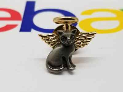 Vintage Pewter Cat Angel Pin with Gold Halo
