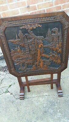 Antique carved chinese scene folding table
