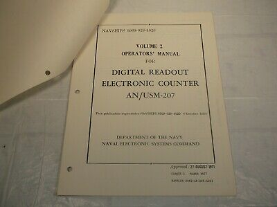 Navships An/Usm-207 Digital Readout Electronic Counter Volume 2 Technical Manual