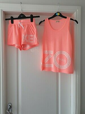 Kenzo Girls neon Top And Shorts Set Age 12 vgc