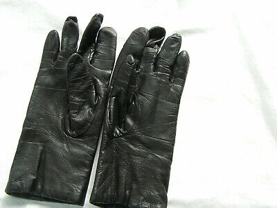 Women's Fownes Black Leather Driving Gloves With Cashmere Lining Size 7 WPL 9522