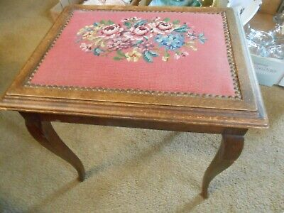 Beautiful Antique Wood Bench NEEDLEPOINT Floral Design