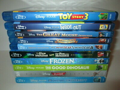 Disney 10 Blu-ray Lot: Toy Story 3 -Inside Out-Monsters-Frozen-Fox Hound-Planes