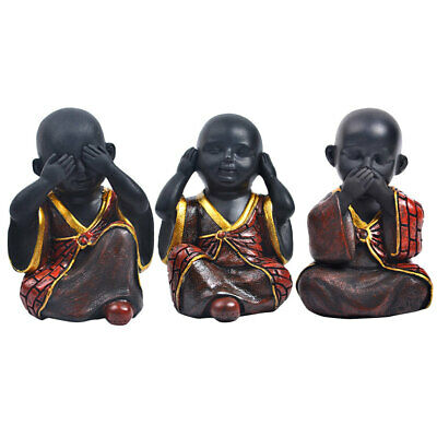 3pcs Happy Buddha Figure Chinese Laughing Sitting Hand Carved Statue-Red