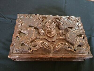 Incredible 19th Century Hand Carved Chinese Wood Dragon Jewelry Box