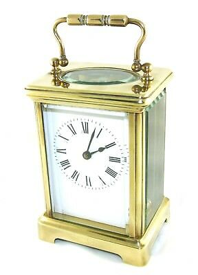* English Brass & Bevelled Glass Carriage Clock with Key : Working Order (36)