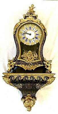 *LARGE Antique Louise XV Style Boulle Inlaid Bracket Clock with Matching Bracket