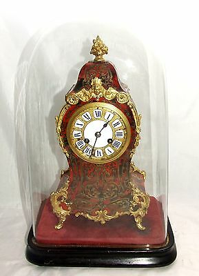 * Antique French Jean Baptiste Delettre Antique Boulle Clock Glass Dome WORKING